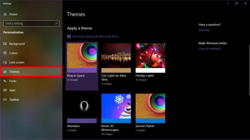 Windows 10 Themes panel