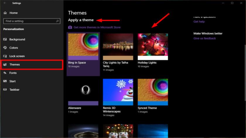 Windows 10 Apply a Theme
