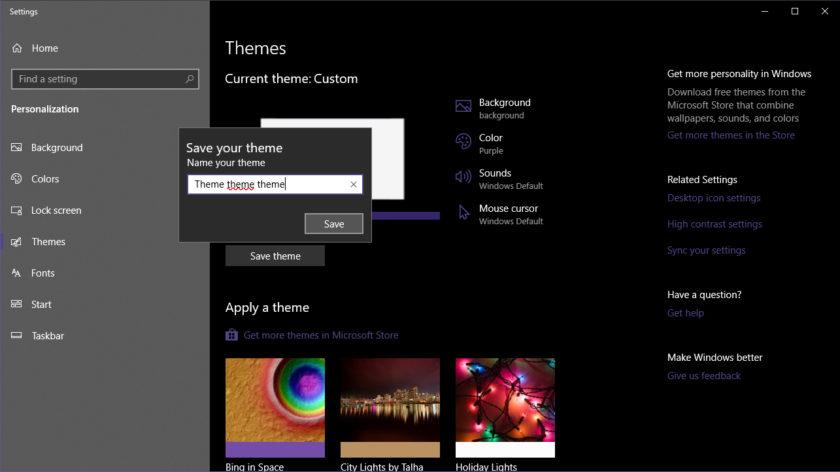 Windows 10 Save Custom Theme