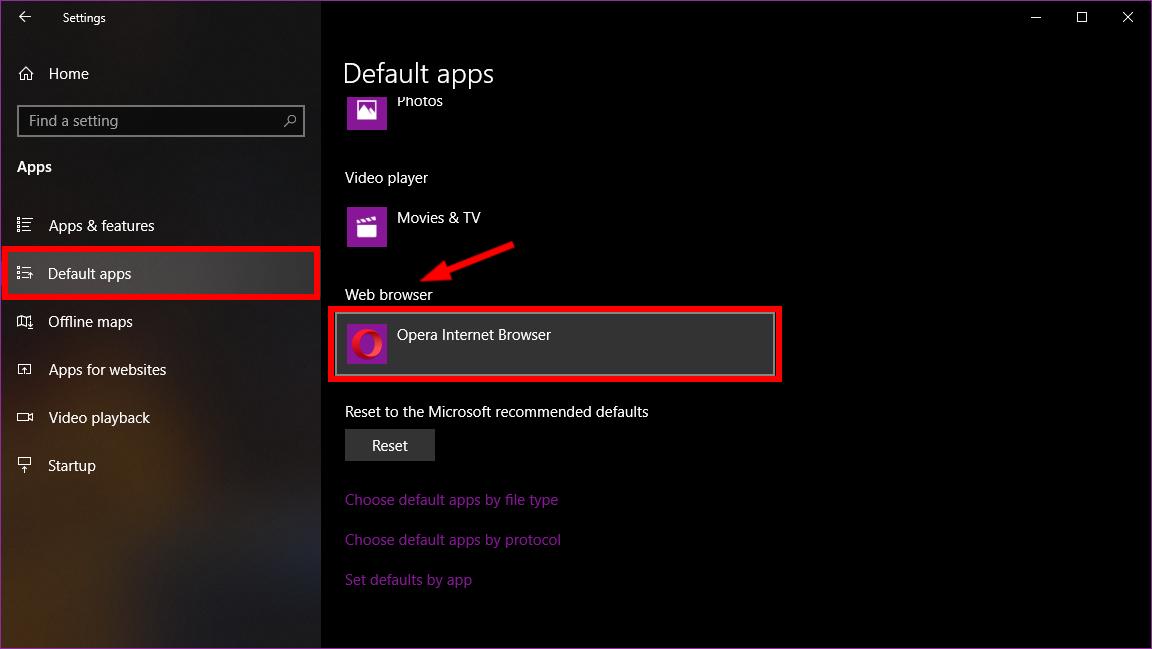 Windows 10 Settings Default Apps