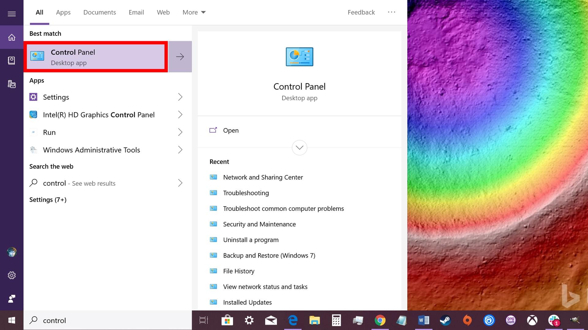 Windows 10 launch control panel