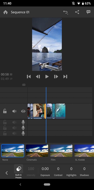 Adobe Premiere Rush Screenshot Color Grading