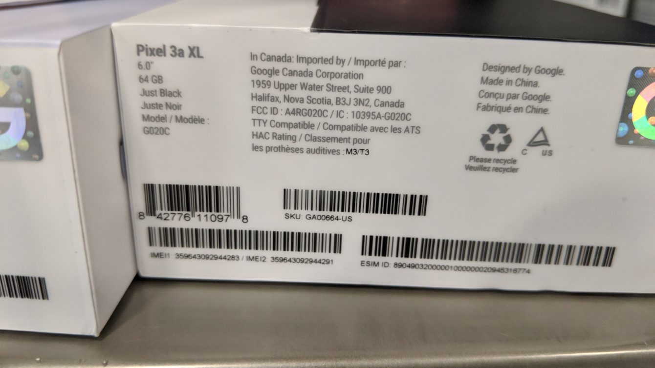 A Google Pixel 3a XL box in a Best Buy store cabinet.