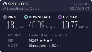 bullguard vpn speed test Singapore