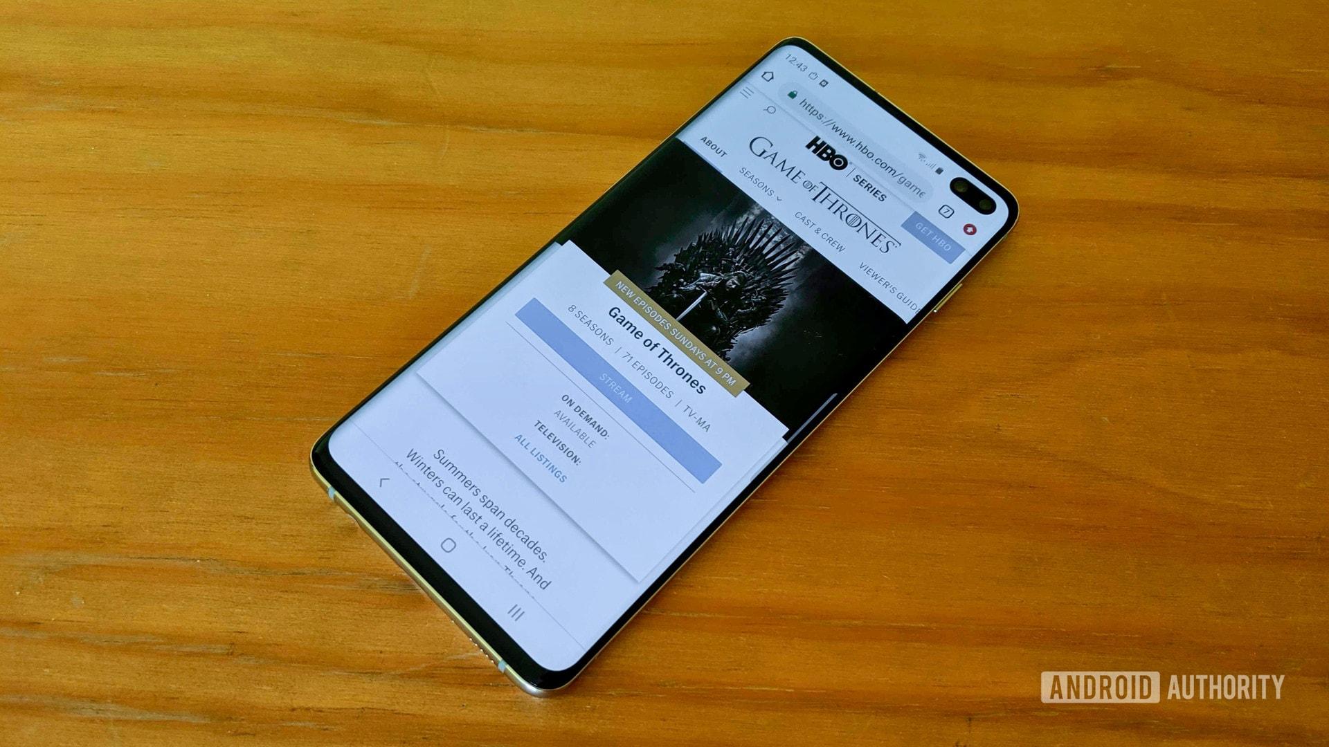game of thrones website on Samsung Galaxy S10 Plus