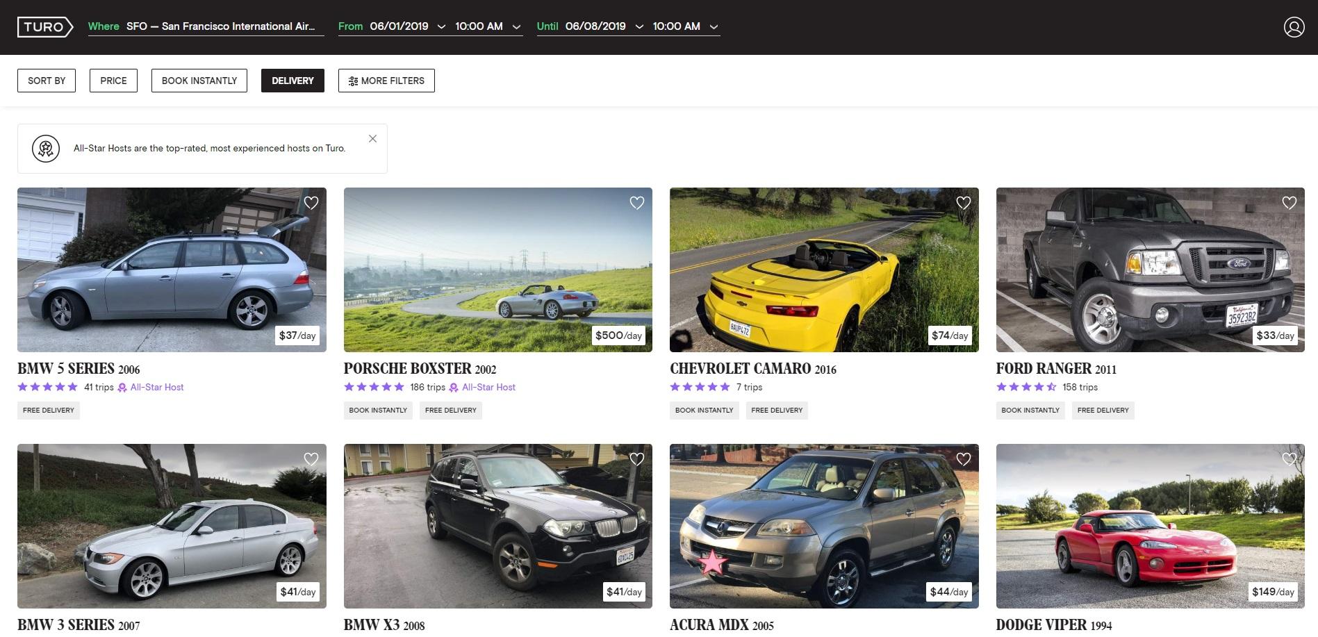screenshot of turo car selection interface