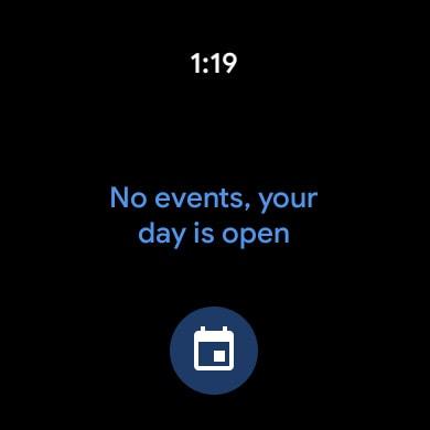 screenshot of agenda calendar wear os tiles screen