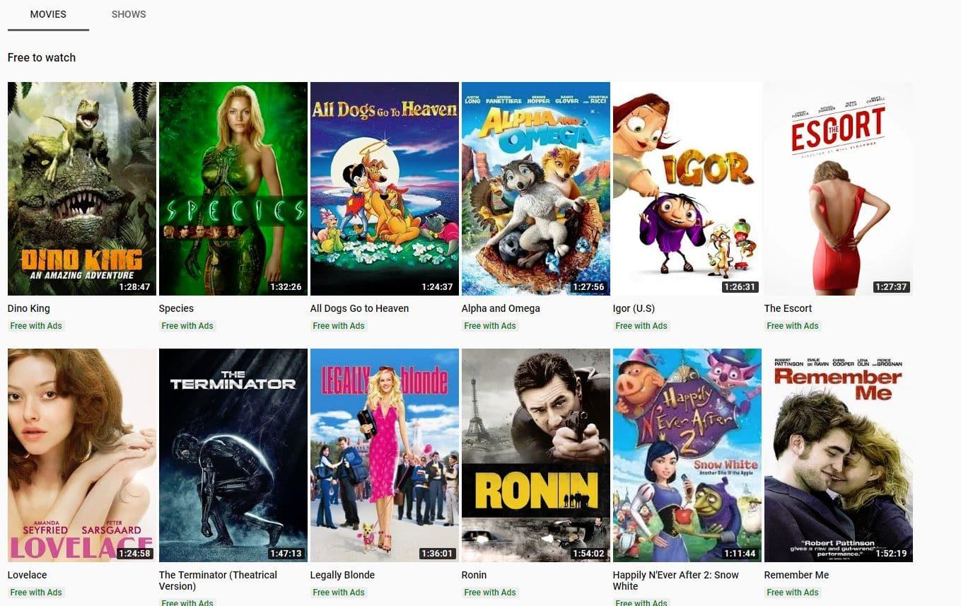 YouTube - free movies