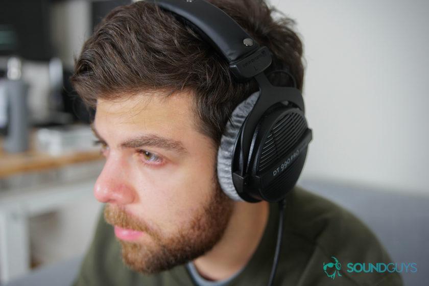 A photo of Adam Molina wearing the Beyerdynamic DT 990 Pro headphones.