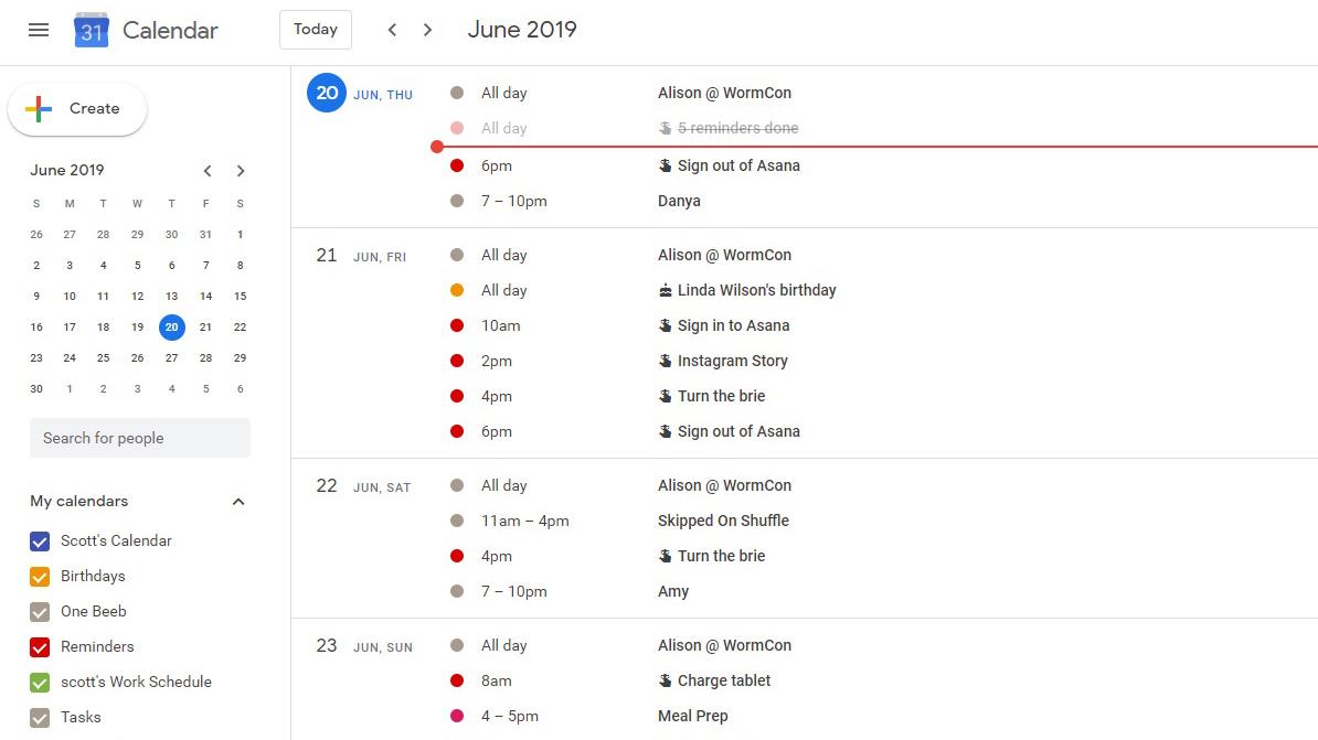 A screenshot of the desktop view of Google Calendar in Schedule mode.