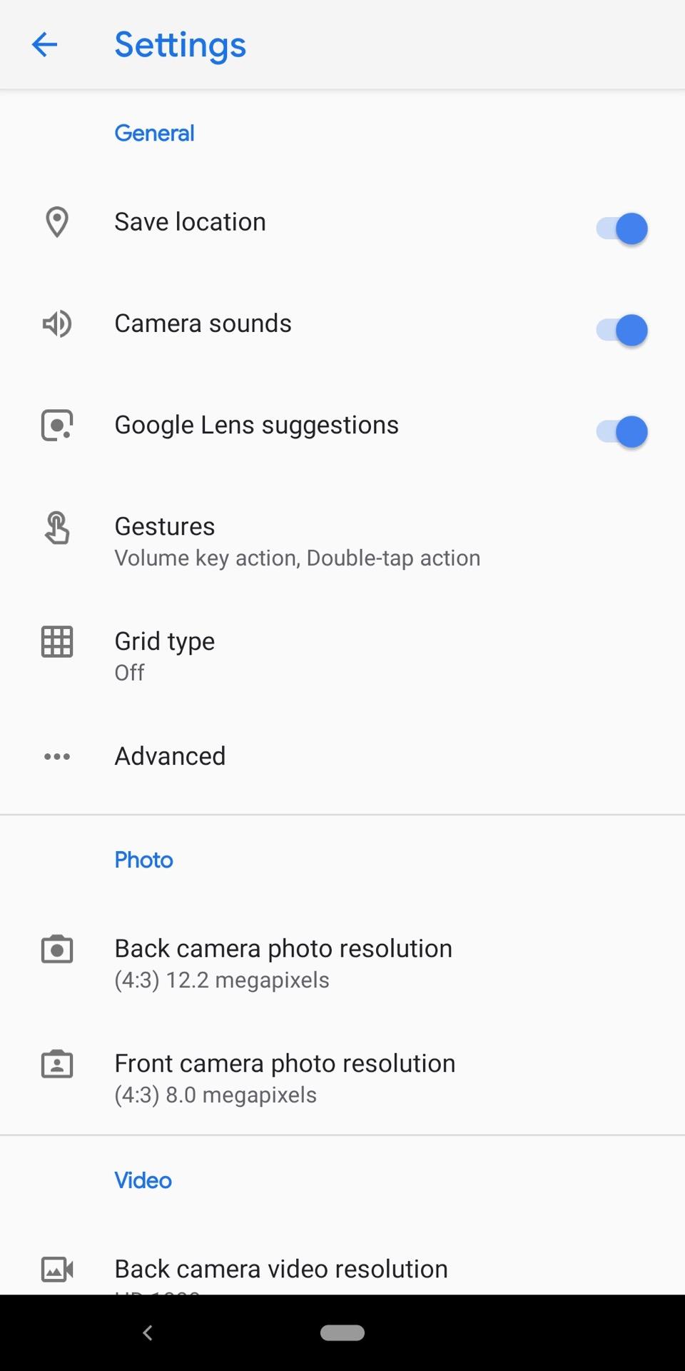 Google Pixel 3a XL Camera Review Camera app settings