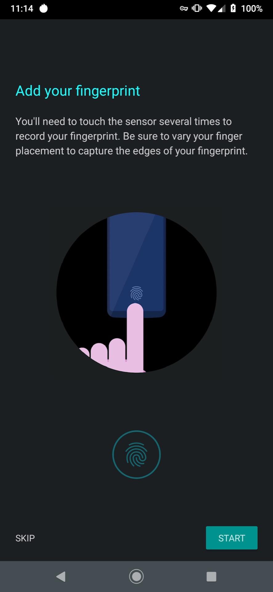 Motorola Moto Z4 fingerprint step 2