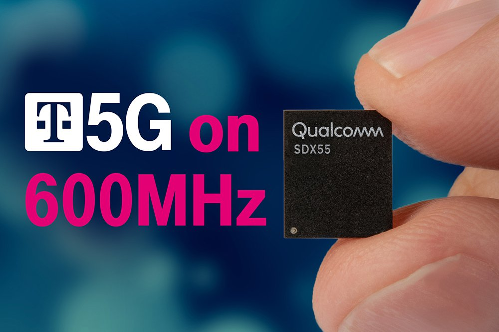 A T-Mobile 5G promotional photo of the Qualcomm Snapdragon 855 chipset, which supports 5G and 600MHz bands.