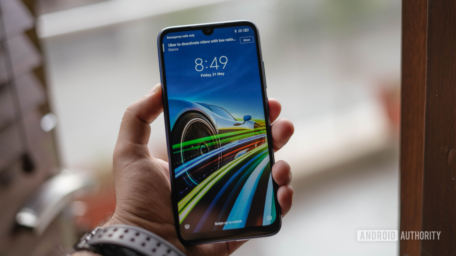 Redmi Note 7S showing lockscreen