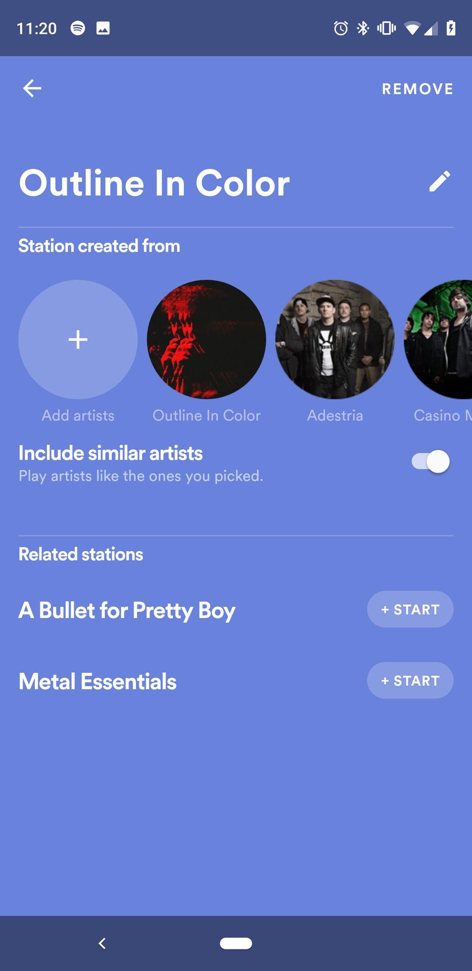 Screenshot of Spotify's Stations app 2