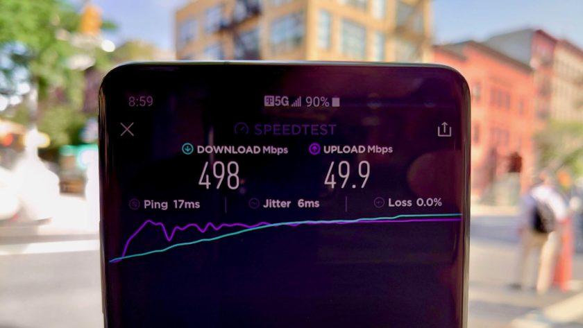 Prueba de velocidad de revisión de T-Mobile 5G número 4