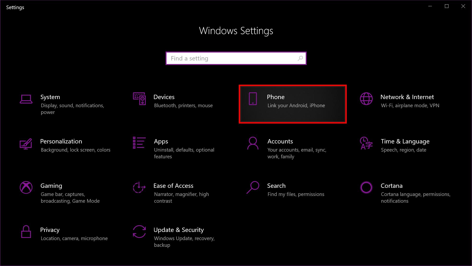Windows 10 Phone Settings