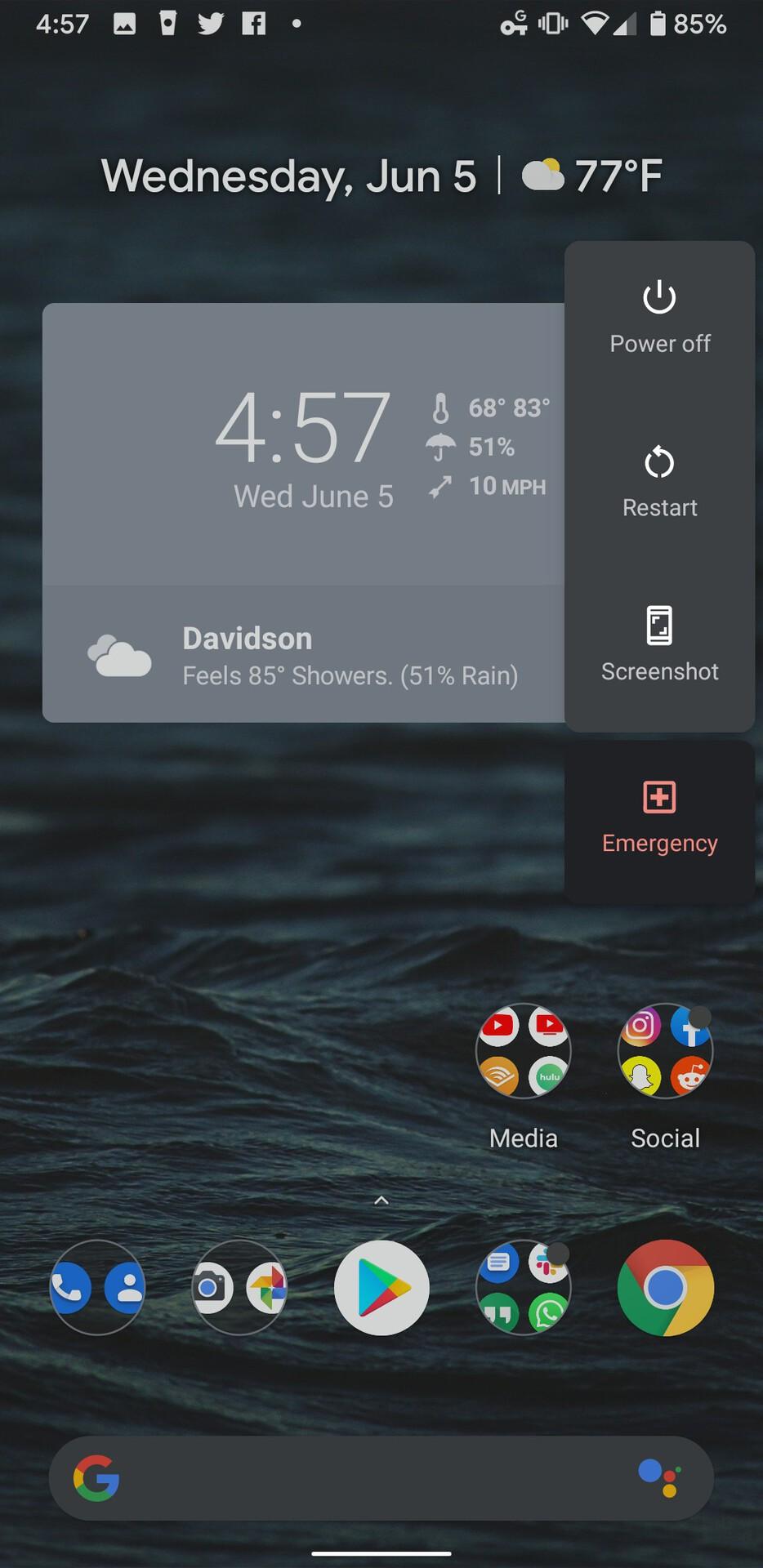 Android Q Beta 4 Dark Mode Power Menu