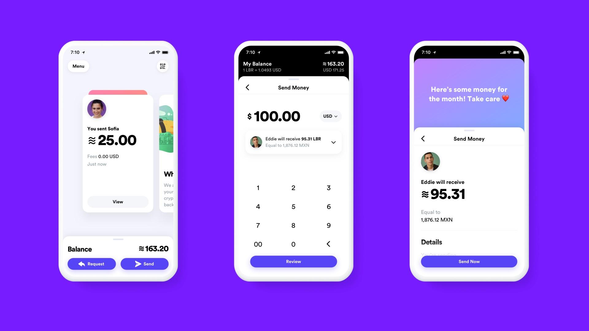 Facebook Calibry wallet screenshots on three phones.