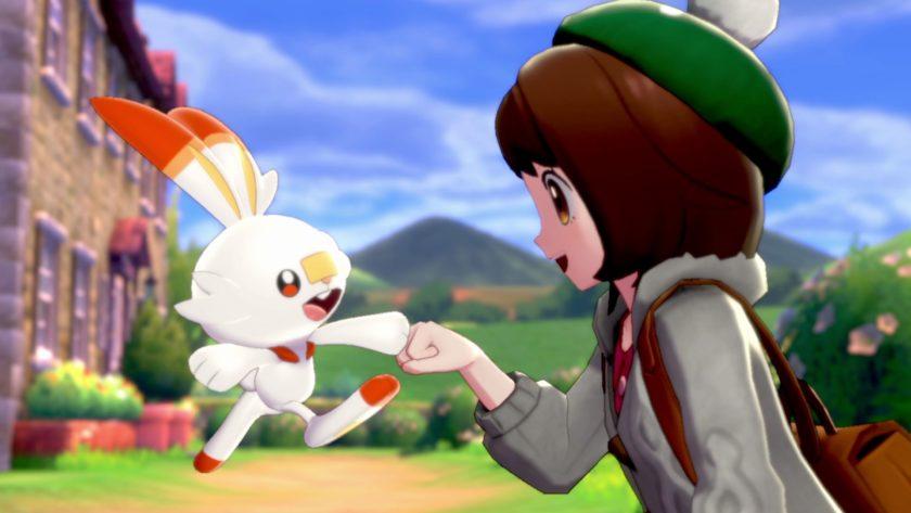 Pokemon Sword and Pokemon Shield screenshot fist bump with scorbunny