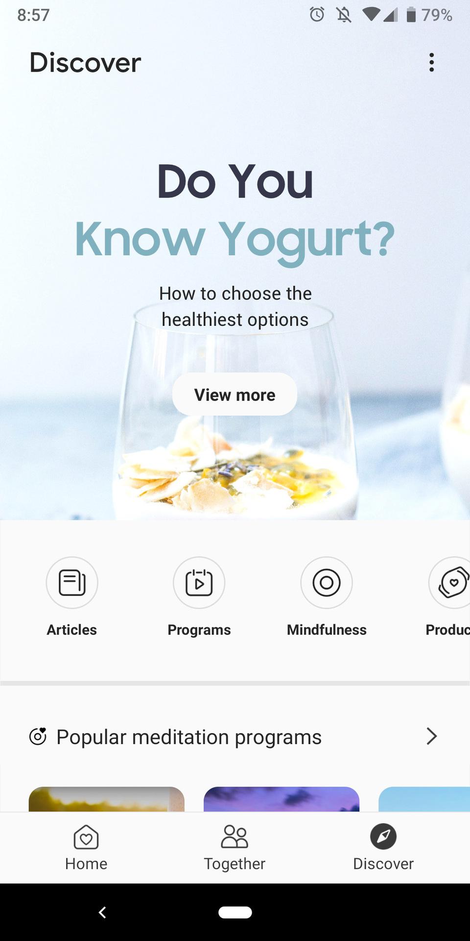 samsung health app discover