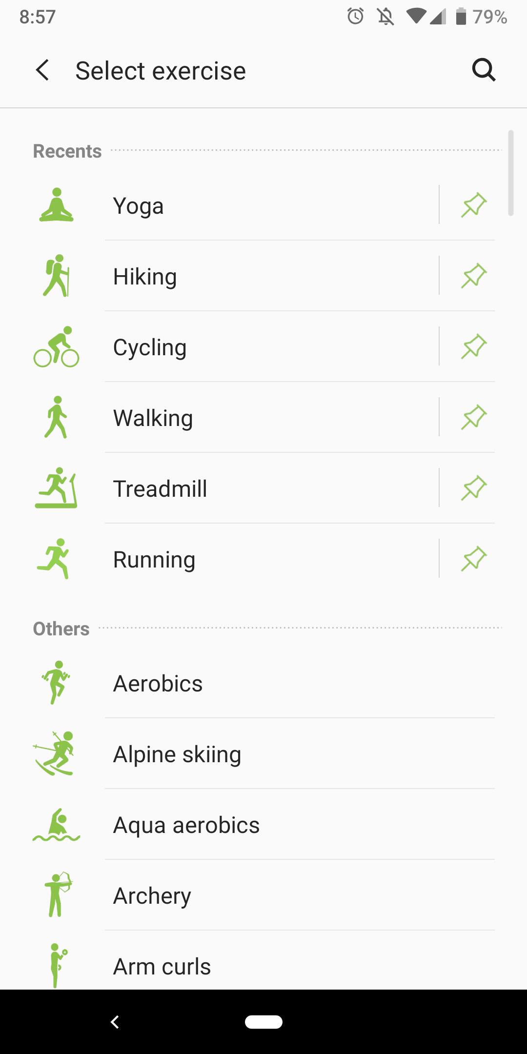 samsung health app activities workouts