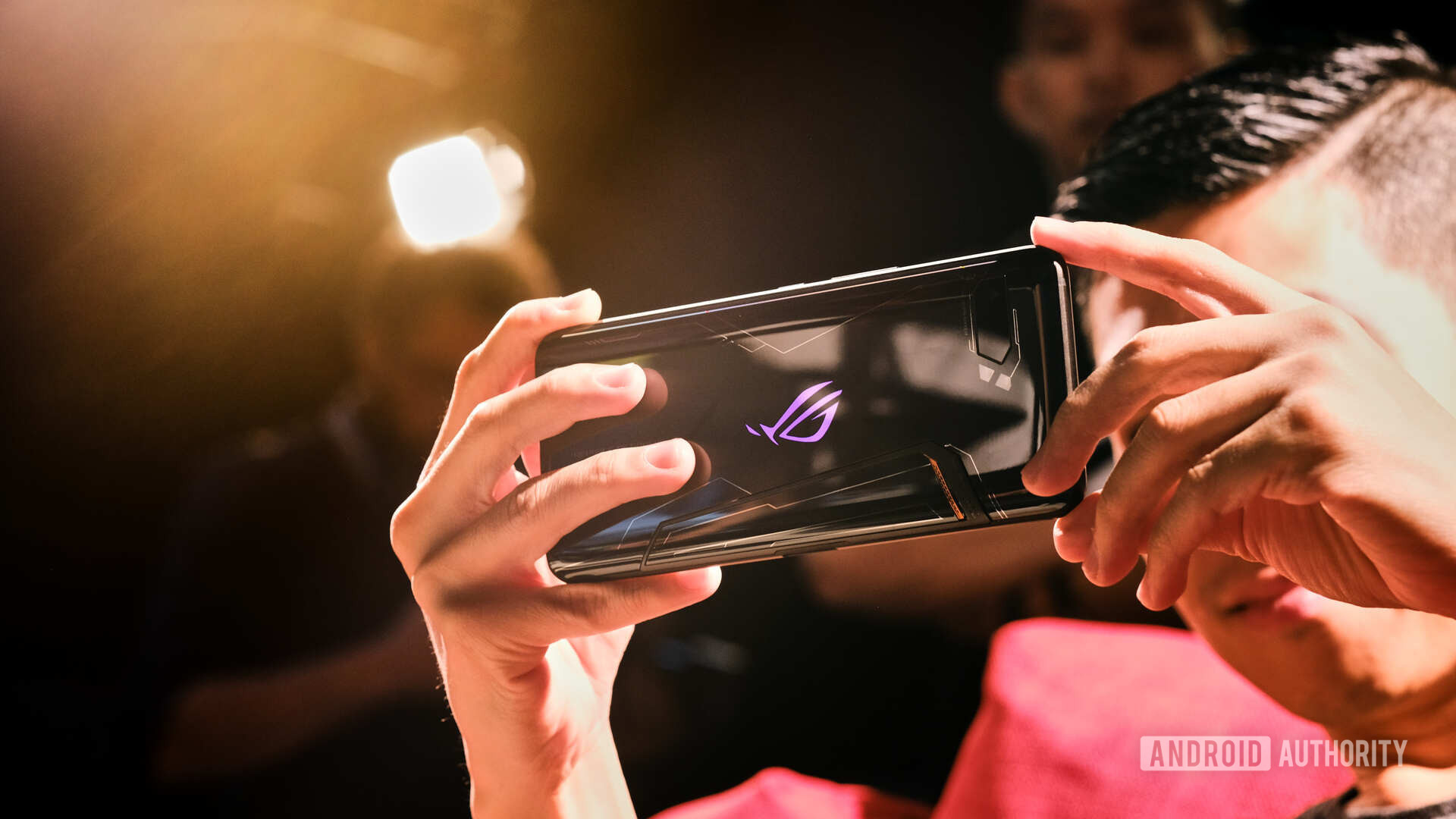 Asus ROG Phone 2 Gaming from back angle lens flare