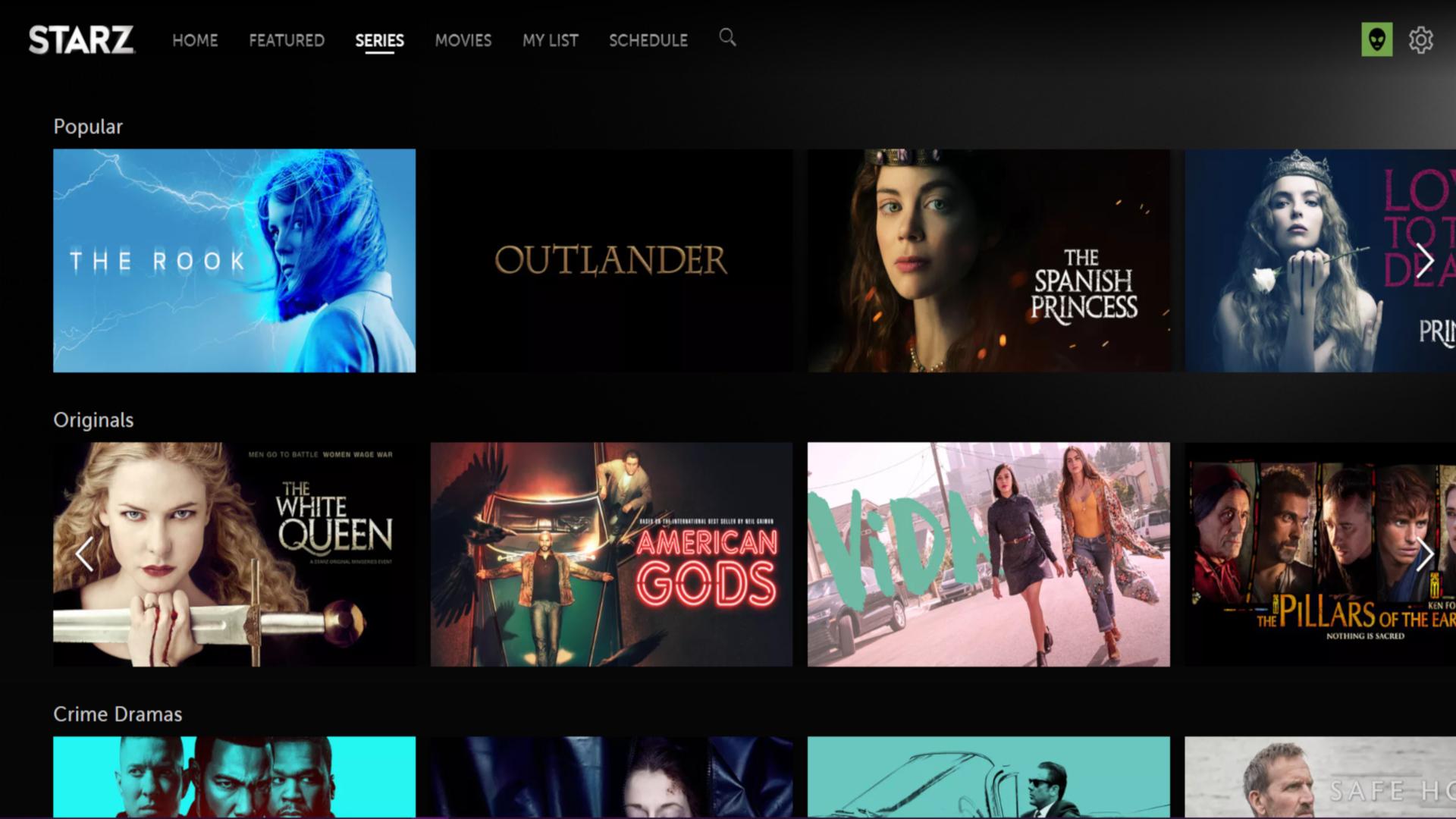 Best starz tv shows screenshot