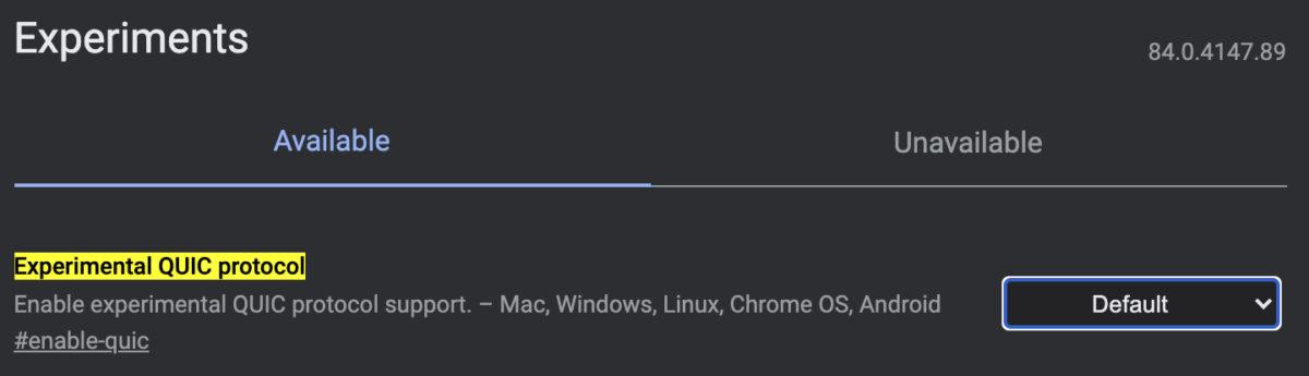Experimental QUIC protocol Chrome flags