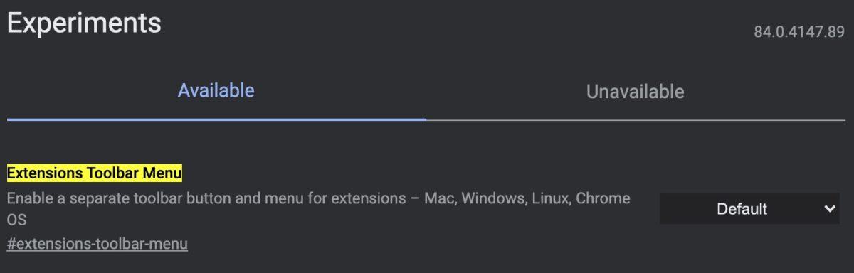 Extensions Toolbar Menu Chrome flags