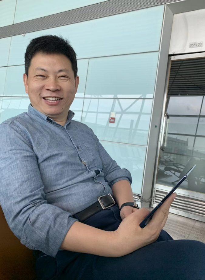 The Huawei Mate X in the hands of Huawei CEO Richard Yu.