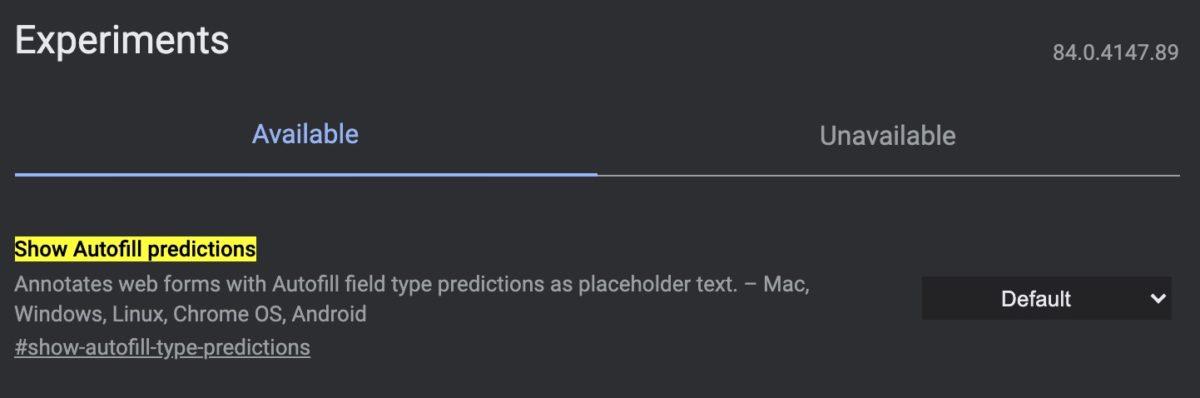 View predictions for auto-fill