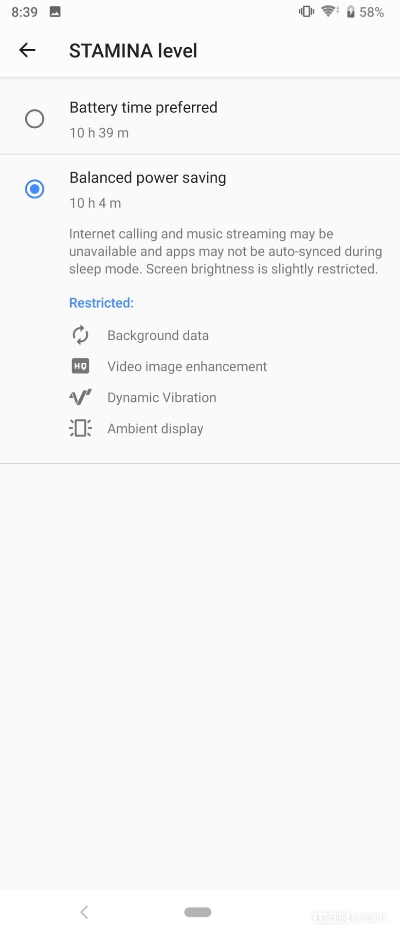 Sony Xperia 1 Review Stamina level