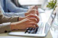 Woman Typing Laptop Coding