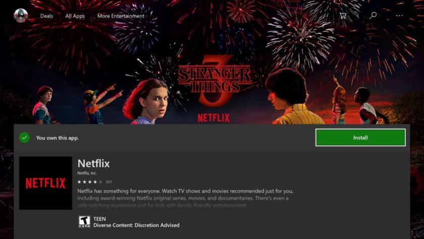 Xbox One Install Netflix