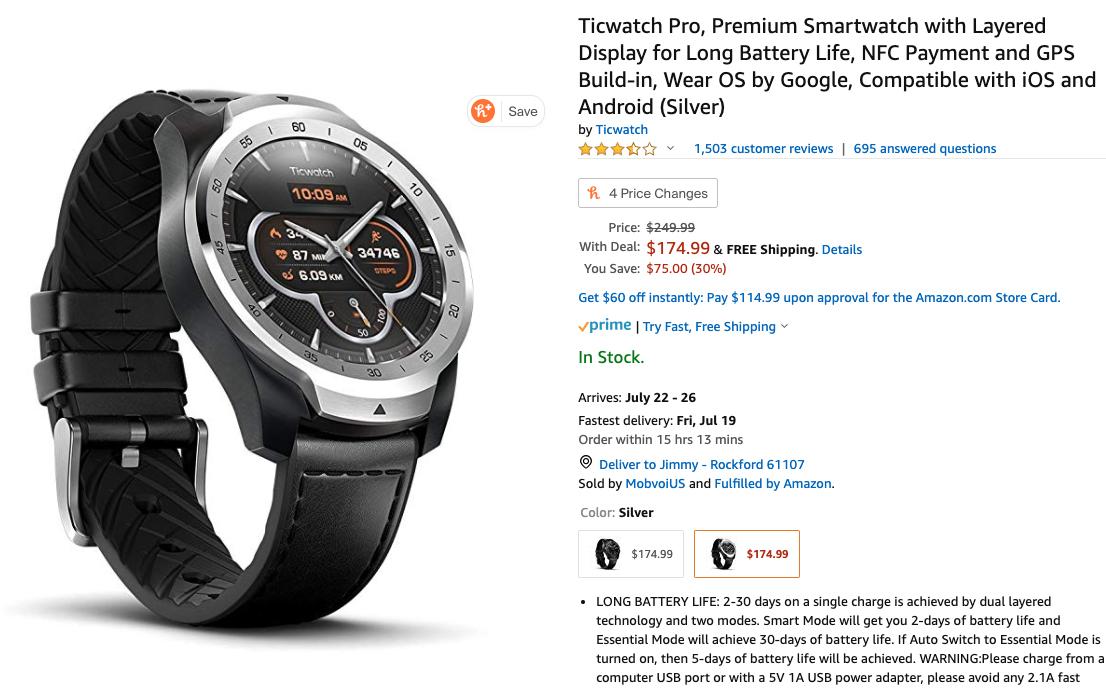 amazon prime day 2019 mobvoi ticwatch pro deal
