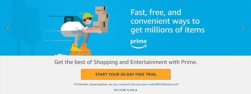 get amazon prime for free with a 30 day trial