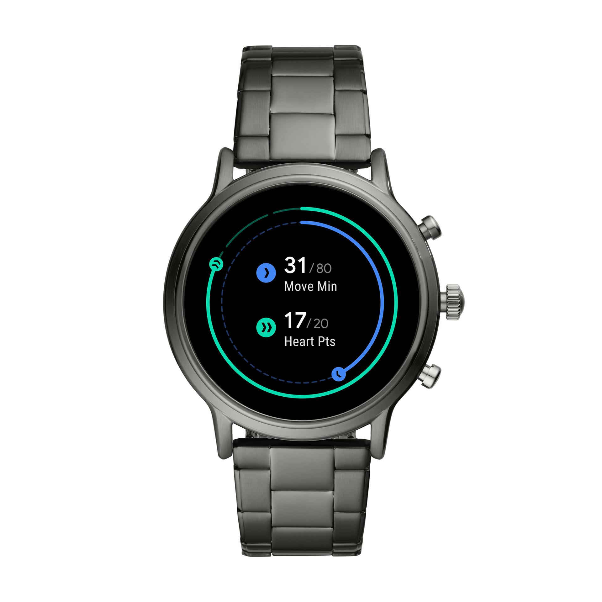 fossil generation 5 wear os smartwatch google fit silver aluminum
