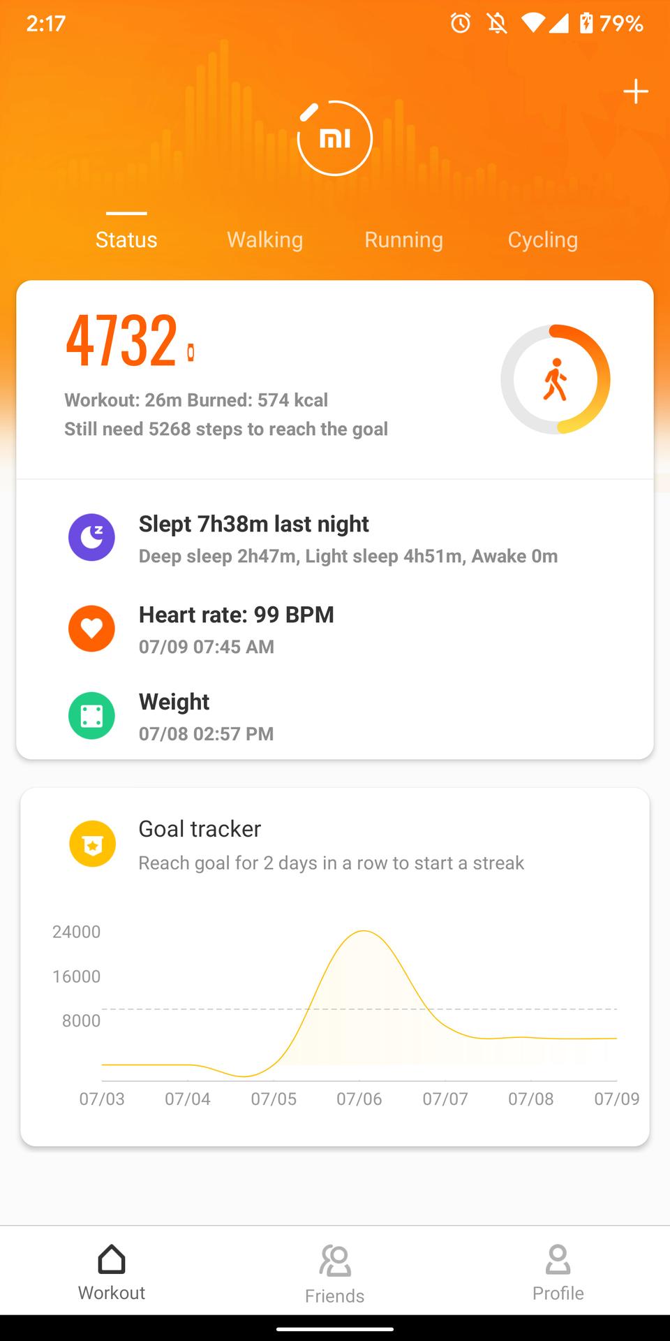 mi fit app screenshots home screen