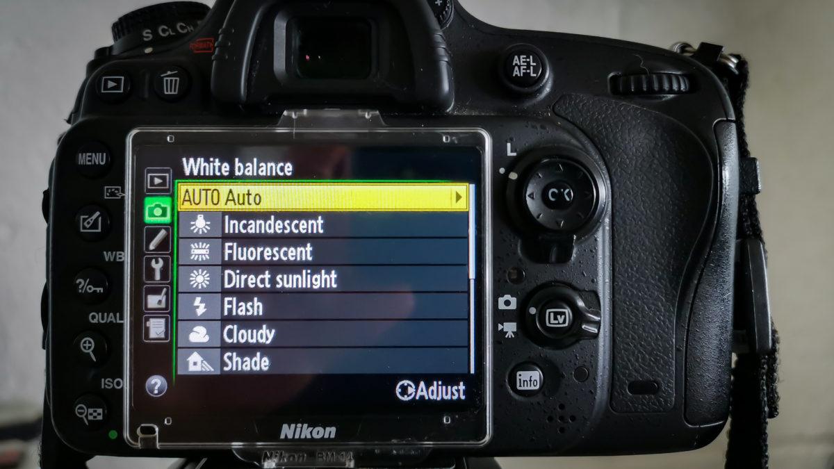 Camera white balance settings on Nikon D610