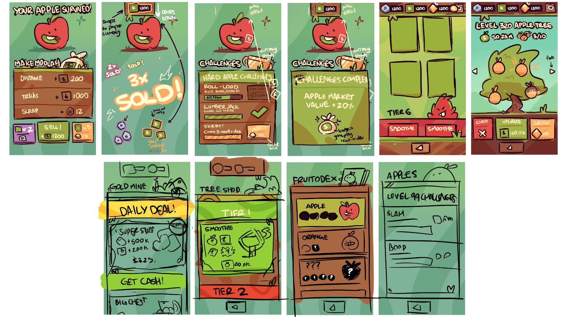 Farm Punks UI concept sketches