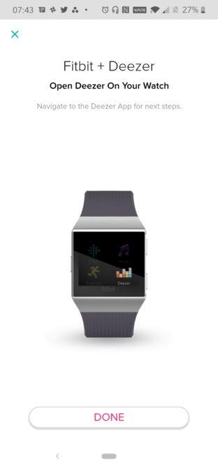 Fitbit Deezer initial splashscreen