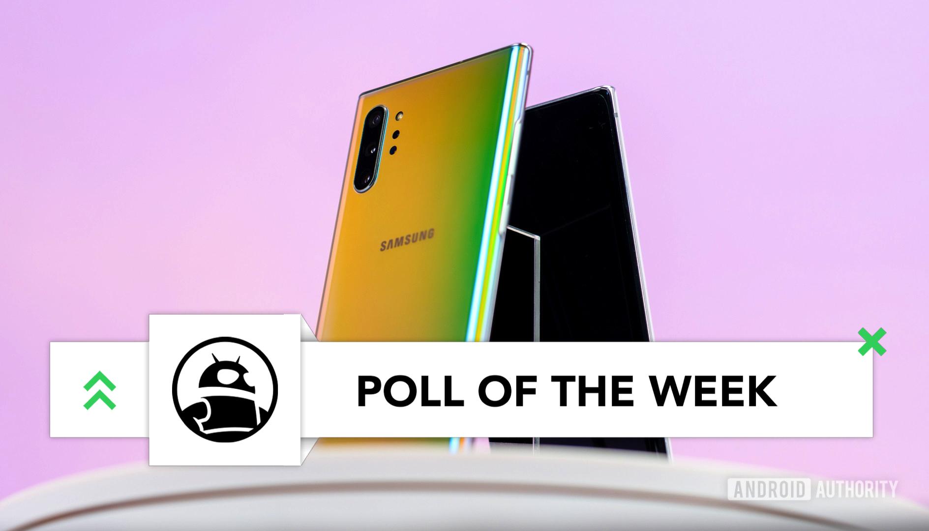 Samsung Galaxy Note 10 poll Plus Aura Glow back at angle imp