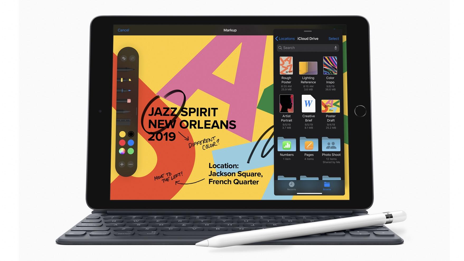 Apple iPad 2019 with keyboard and pencil