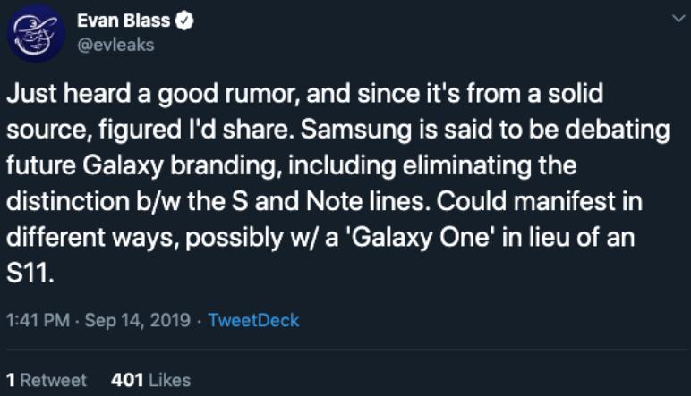Galaxy One Evan Blass Tweet