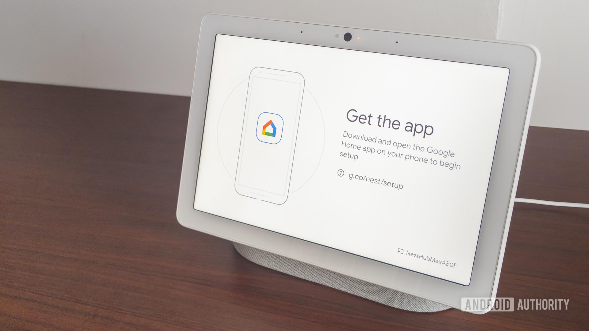 Google Home Hub Max app screen