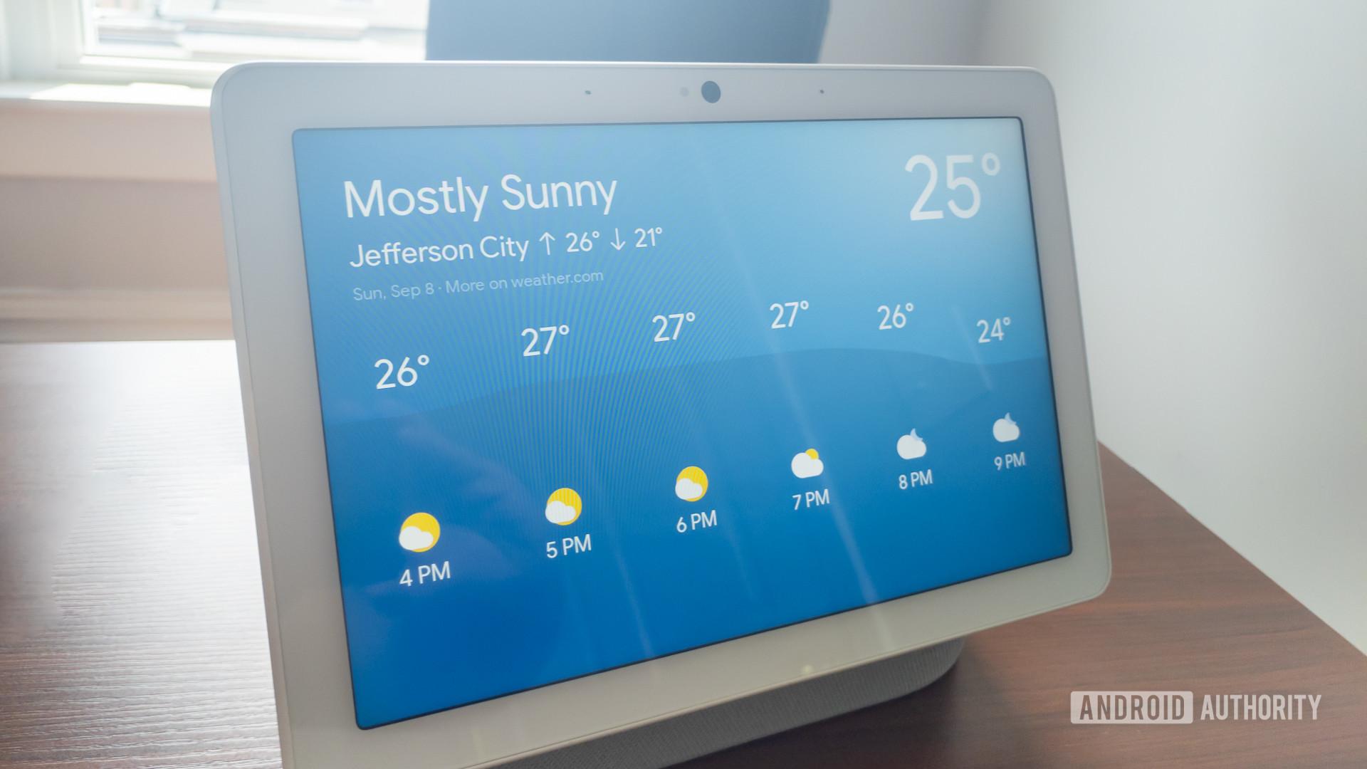 Google Home Hub Max weather screen