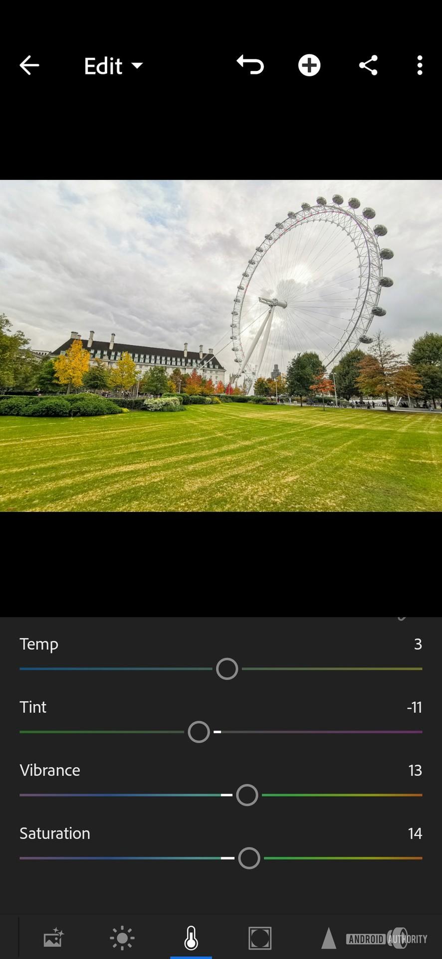 Lightroom edits screenshots color