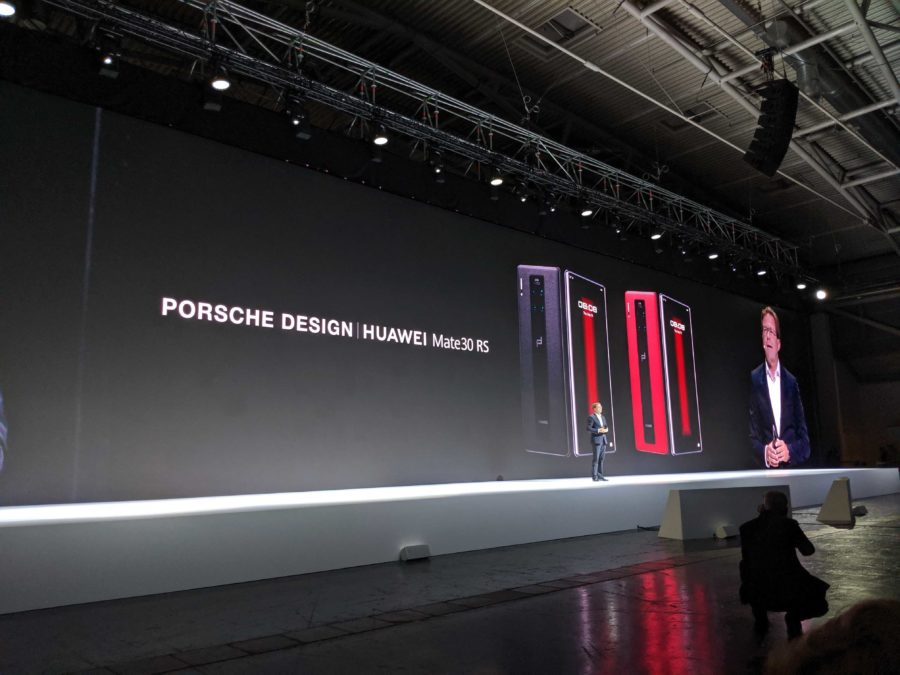 A photos of Huawei unveiling the Porsche Design Huawei Mate 30 RS at an event in Munich.