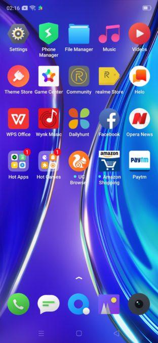 Realme XT app screen